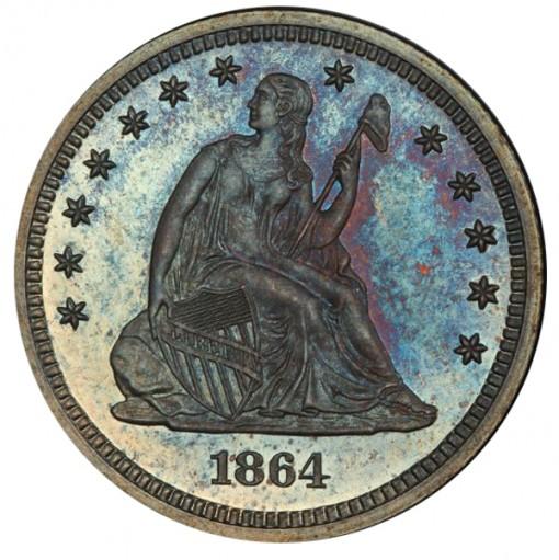 1864 25C PCGS PR67 - Obverse