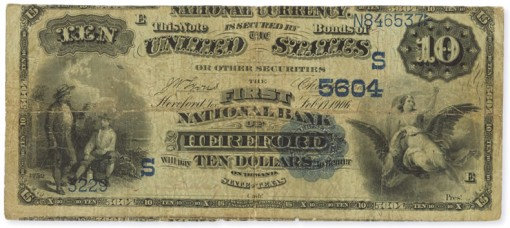 1882 $10 Date Back with Lyons-Treat Signatures - Obverse