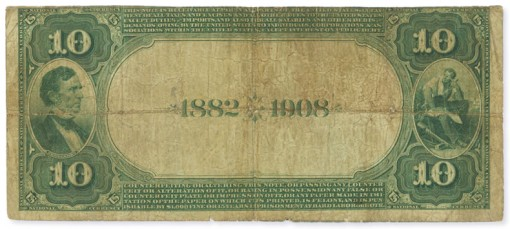 1882 $10 Date Back with Lyons-Treat Signatures - Reverse