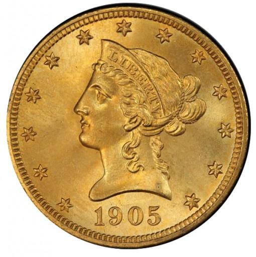 1905 $10 PCGS MS67 CAC Ex Simpson - Hall - Obverse