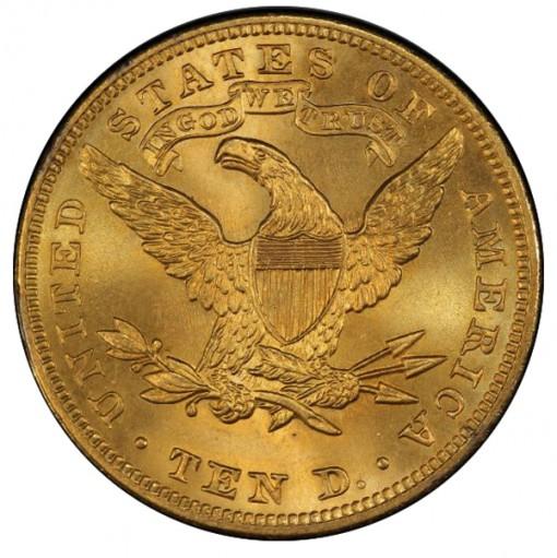 1905 $10 PCGS MS67 CAC Ex Simpson - Hall - Reverse