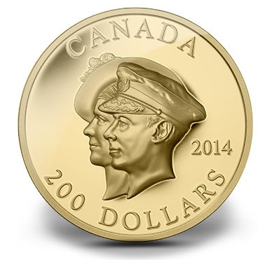 2014 $200 Canadian 75th Anniversary of the First Royal Visit High Relief Gold Coin