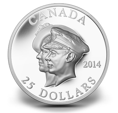 2014 $25 Canadian 75th Anniversary of the First Royal Visit High Relief Silver Coin