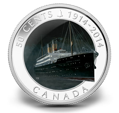 2014 50-Cent RMS Empress of Ireland Silver Plated Coin