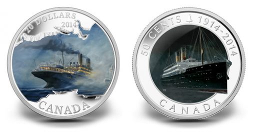2014 RMS Empress of Ireland $20 Silver and 50c Silver Plated Coins