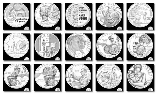 2015 March of Dimes Silver Dollar Designs