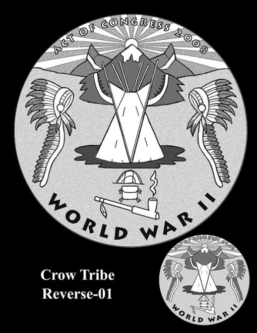 Crow Tribe Code Talkers Gold Medal Design Candidate Crow-R-01
