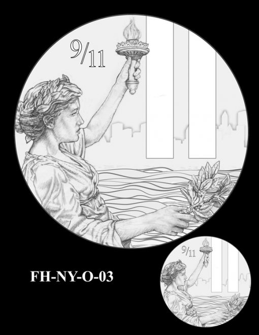 Fallen Heroes National September 11 Memorial and Museum Medal Design Candidate FH-NY-O-03