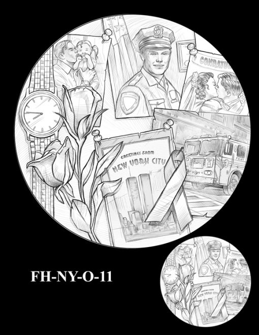 Fallen Heroes National September 11 Memorial and Museum Medal Design Candidate FH-NY-O-11