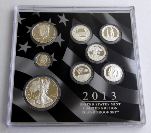 Front view of the lens of coins for 2013 Limited Edition Silver Proof Set