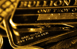 Gold bullion in pile