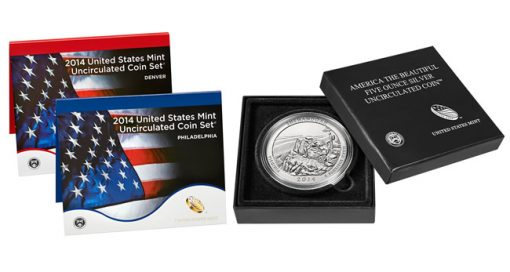 Packaging of the 2014 Mint Set and Shenandoah 5 Oz Silver Uncirculated Coin