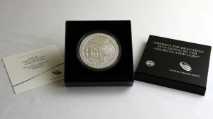 Photo of 2014-P Great Smoky Mountains Five Ounce Silver Coin and Case