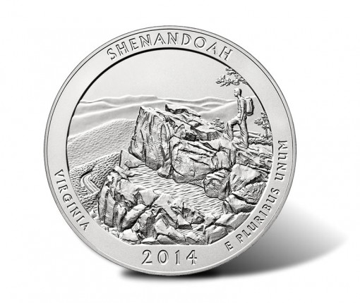 Reverse of the 2014-P Shenandoah National Park Silver Uncirculated Coin