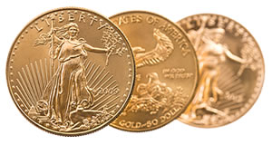 Three American Eagle gold bullion coins