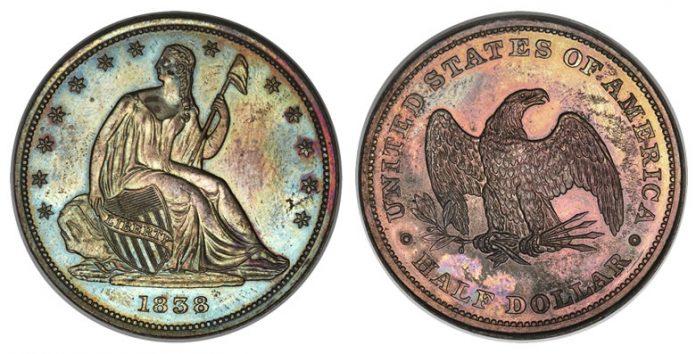 1838 plain edge Seated Liberty half dollar pattern in copper, Judd-77
