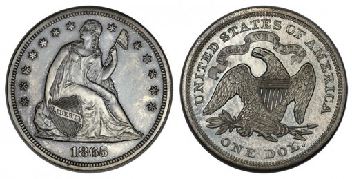 1865 with motto Seated dollar in silver, Judd-434