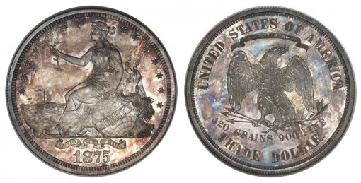 1875 Trade dollar in silver, Judd-1426