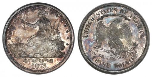 1875 Trade dollar in silver, Judd-1426