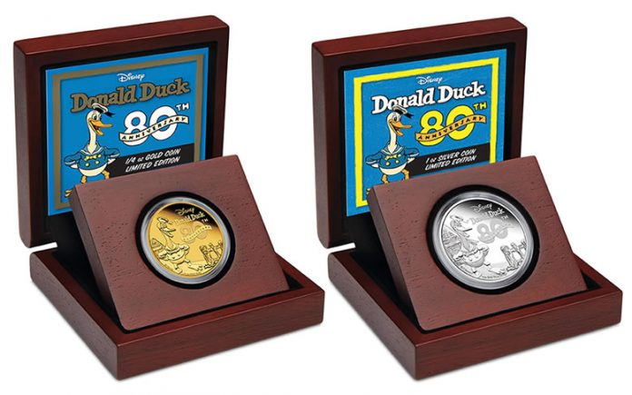 2014 80th Anniversary of Donald Duck Gold and Silver Coins in Presentation Case