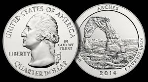 2014 Arches National Park Five Ounce Silver Bullion Coin