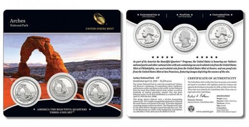 2014 Arches National Park Quarters Three-Coin Set