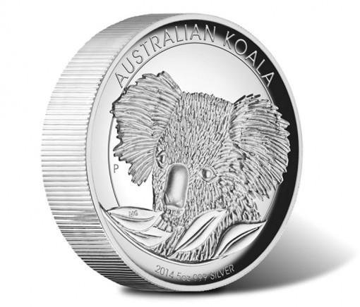 2014 Australian Koala 5 oz Silver Proof High Relief Coin