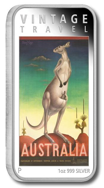 2014 Kangaroo Australia Vintage Travel Poster Silver Coin