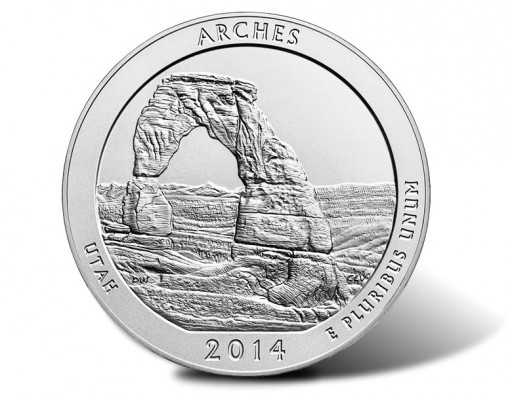2014-P Arches National Park Five Ounce Silver Uncirculated Coin