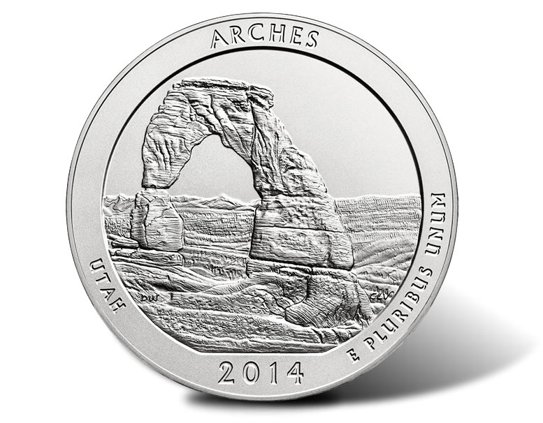 S Uncirculated Arches national park 2014 Utah quarter coin