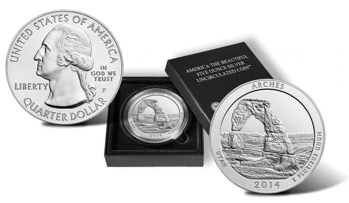 2014-P Arches National Park Silver Uncirculated Coin and Case
