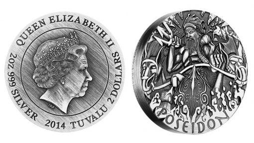 2014 Poseidon High Relief 2 Oz Silver Coin