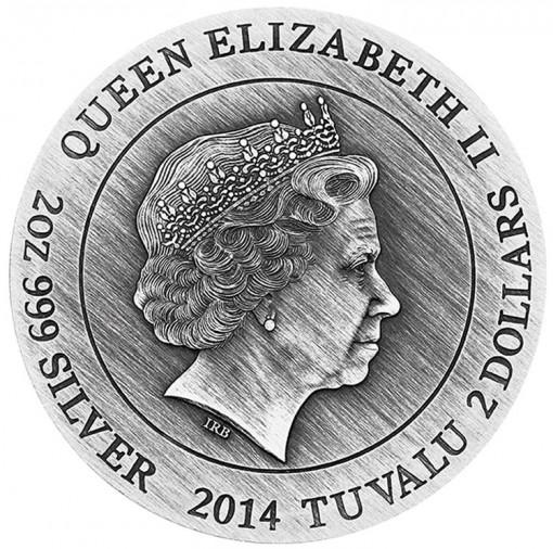 2014 Poseidon High Relief 2 Oz Silver Coin - Obverse