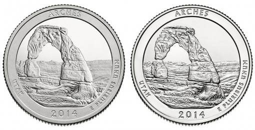 2014 Proof and Uncirculated Arches National Park Quarters