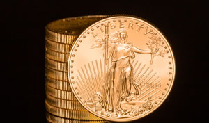 American Eagle gold bullion coins stacked