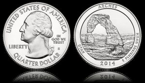 Arches National Park Quarter - Obverse and Reverse