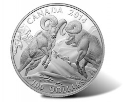 Canadian 2014 $100 Bighorn Sheep Silver Coin for $100