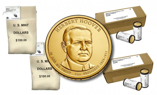Herbert Hoover Presidential $1 Coins in Rolls, Bags and Boxes