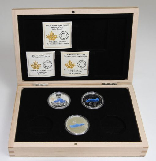 Opened Display Case with Three Great Lake Series Coins