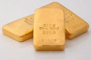 Three 250g fine gold bars