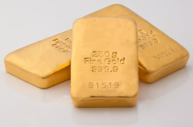 Three 250g fine gold bars