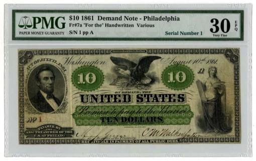 1861 $10 Demand Note - Obverse