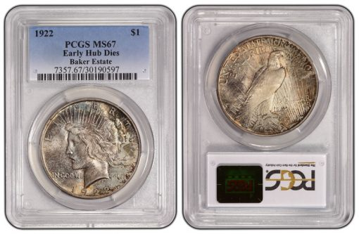 1922 Low Relief Early Hub Dies Peace Dollar PCGS MS67