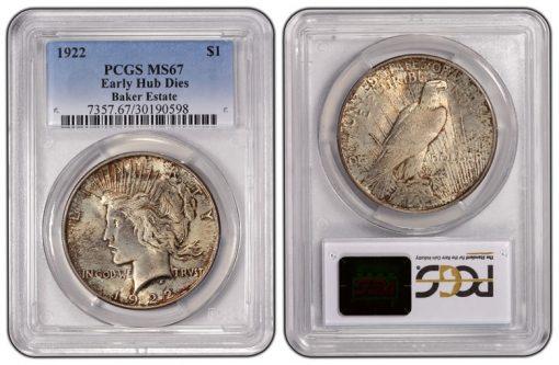 1922 Peace Dollar Early Hub Dies PCGS MS67