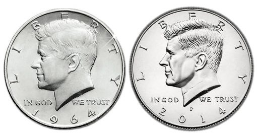 1964 Kennedy Half-Dollar vs 2014 Kennedy Half-Dollar
