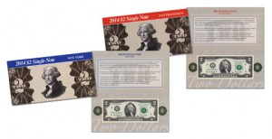 2014 $2 Single Note Collection Includes Two Banknotes