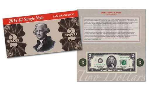 2014 $2 Single San Francisco Note