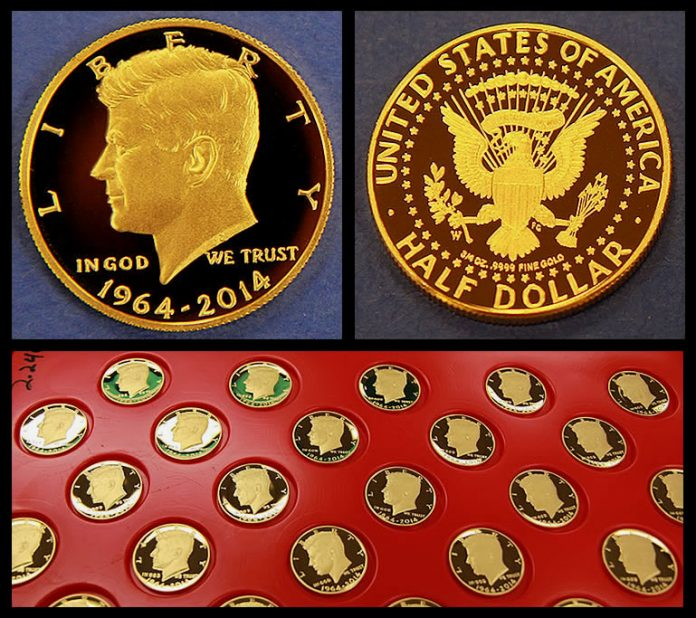 2014 50th Anniversary Kennedy Half-Dollar Gold Coins