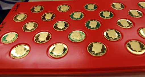 2014 50th Anniversary Kennedy Half-Dollar Gold Proof Coin - Tray View 2