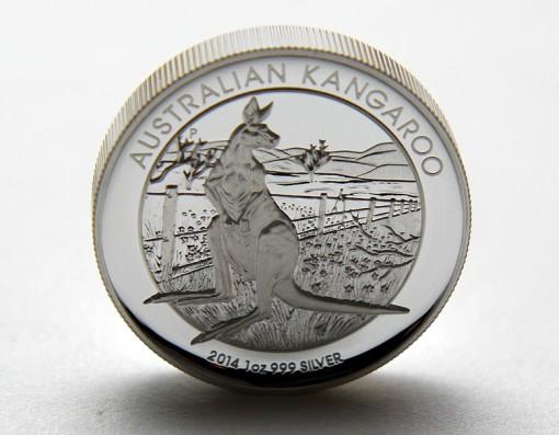 2014 Australian Kangaroo High Relief Silver Coin Standing on Edge
